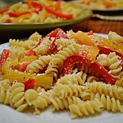 Rotini Pasta w/ Mixed Bell Peppers by ateaspoonofhappiness