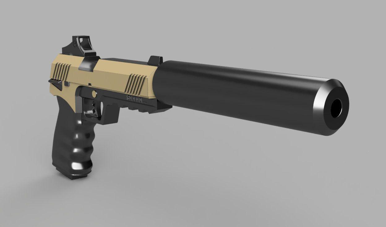 Suppressed Pistol from Fortnite STL File | Cool | 3d