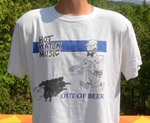 Hot Water Music Shirt Trailer Light Wiring Diagram 7 Wire Vintage T Out Of Beer No Idea Records Large Medium Tee 90s Wtf Sheep By Skippyhaha Skippy Haha Shirts Pinterest