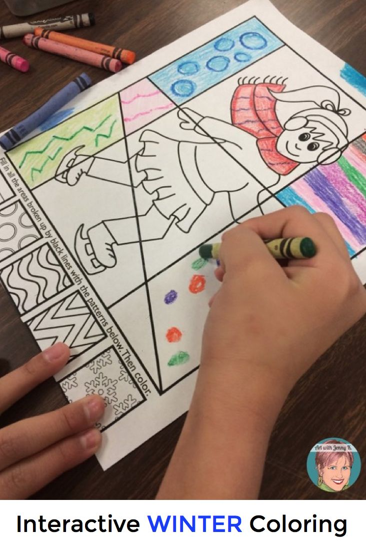 Winter Activities Interactive and Pattern Filled Coloring
