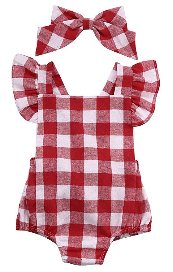 f51cecb9304a Newborn Infant Baby Girls Clothes Plaids Checks Romper Jumpsuit Bodysuit  Outfits (0-3 Months, Red)