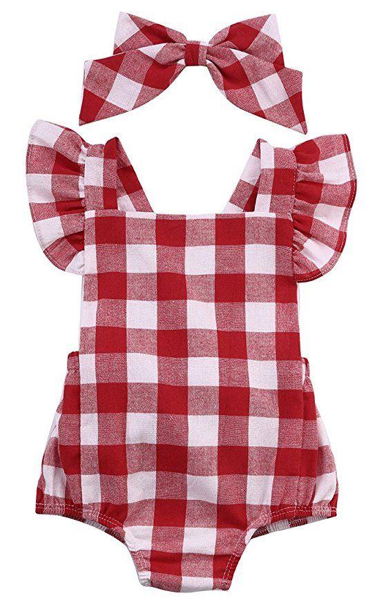 3a560b7c4 Newborn Infant Baby Girls Clothes Plaids Checks Romper Jumpsuit Bodysuit  Outfits (0-3 Months, Red)