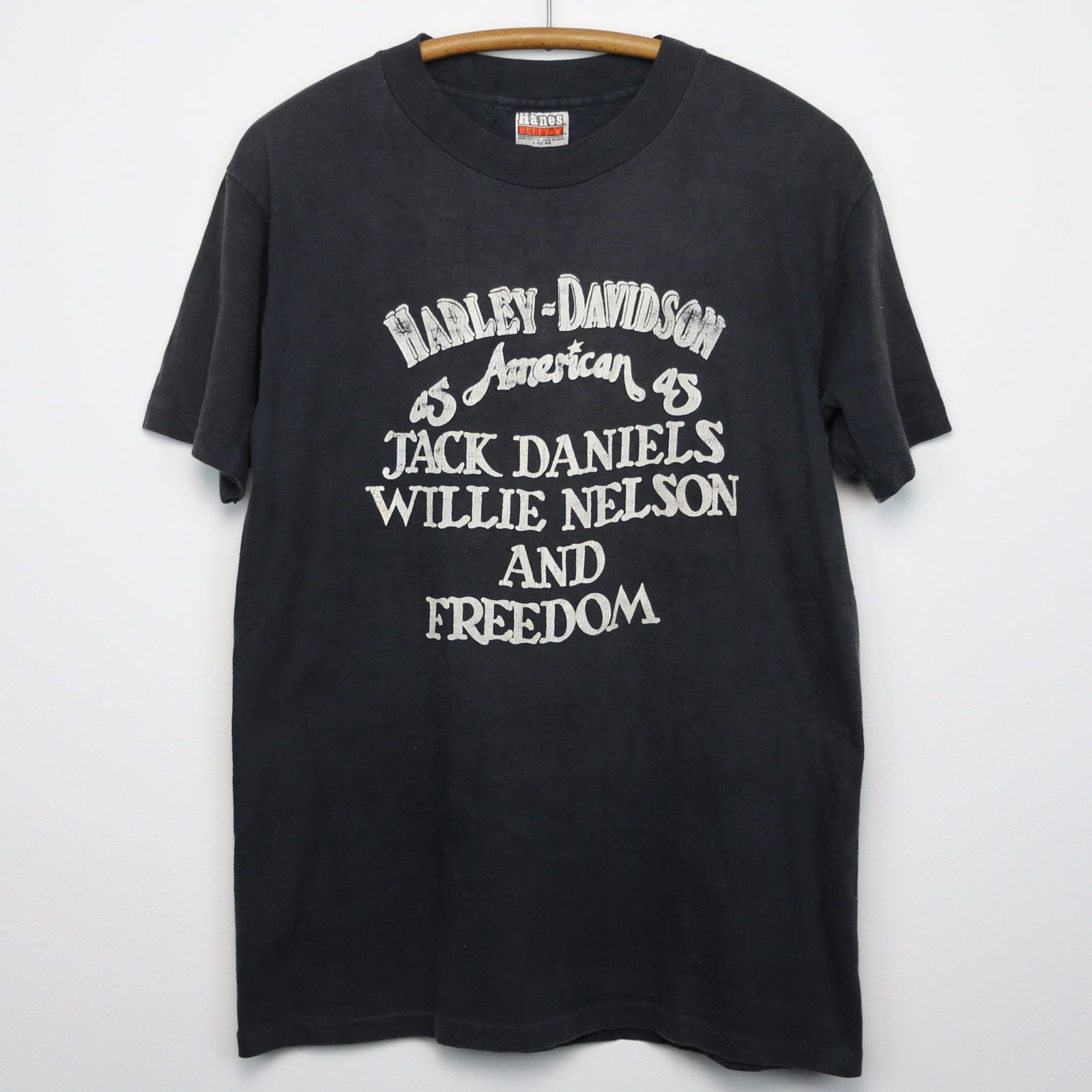 1980s Harley Davidson American As Jack Daniels   Willie Nelson Shirt ... 3bb732533c