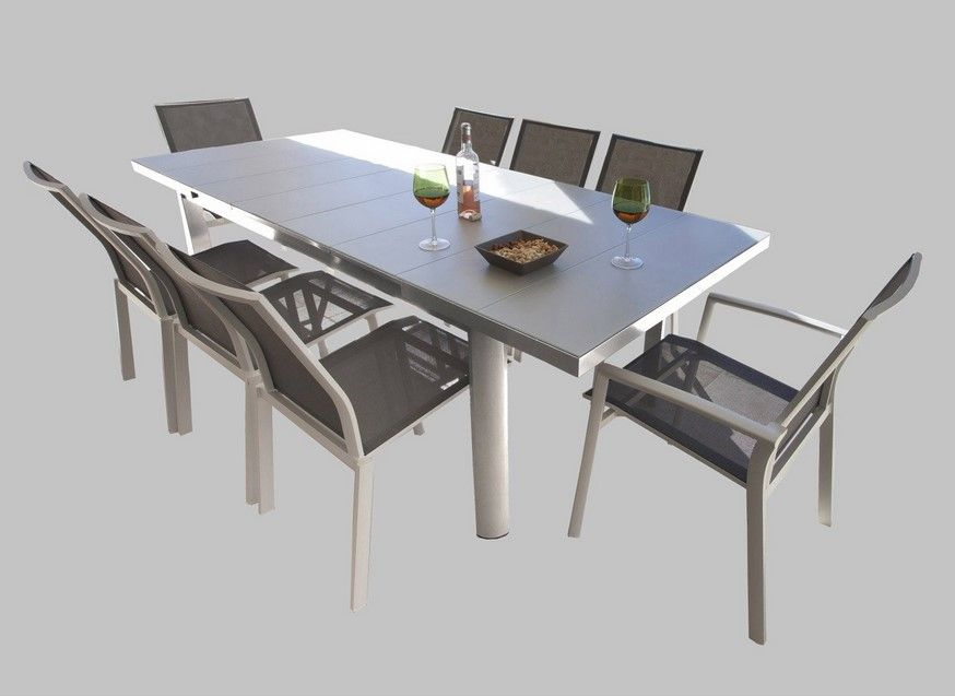 Table de jardin s villa rectangulaire gris 8 personnes - Tables pliantes castorama ...