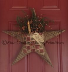 Large Handcrafted Lighted Quilted Star Door Greeter with pocket filled with Sweet Annie and berries...very primitive, heavily stained and includes battery operated taper candle.  $47