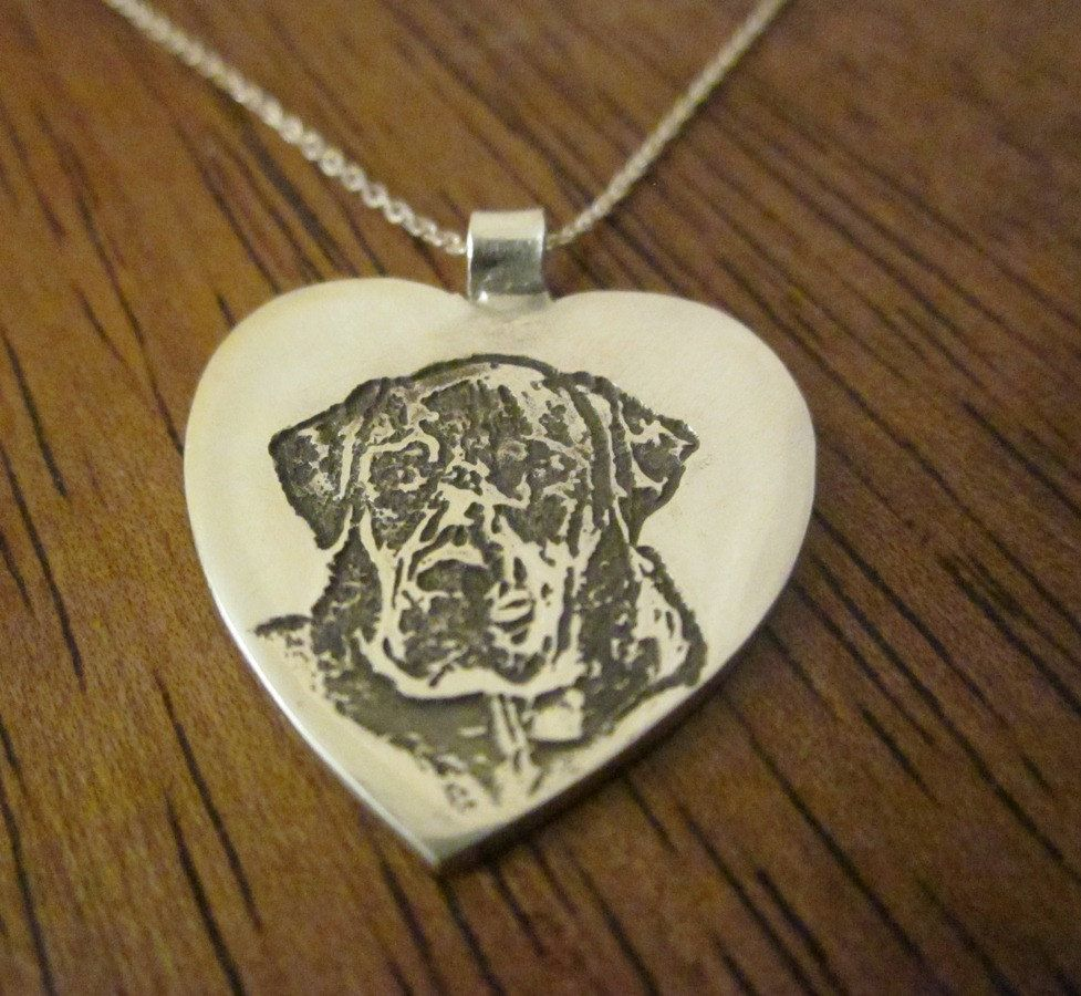 Custom Silver Dog Pendant Made From Your Dog S Photo Heart