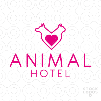 A shape of the heart created out of outlines of dog and cat. Logo recommended primarily for pet store, veterinary clinic, pet hotel, pet day care, animal charity foundation.
