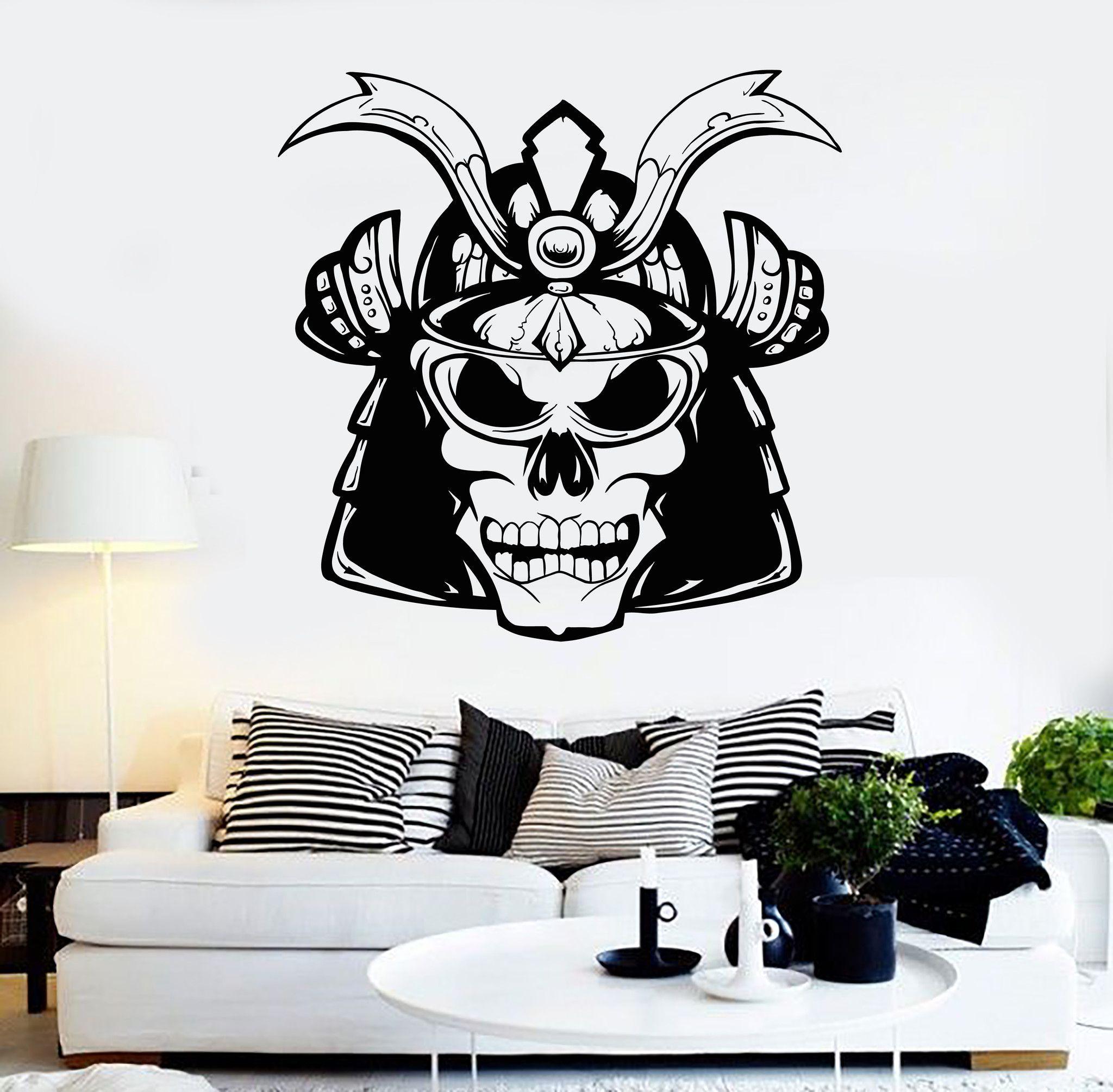 Vinyl Wall Decal Samurai Helmet Skull Asian Style Stickers Mural - Vinyl wall decals asian
