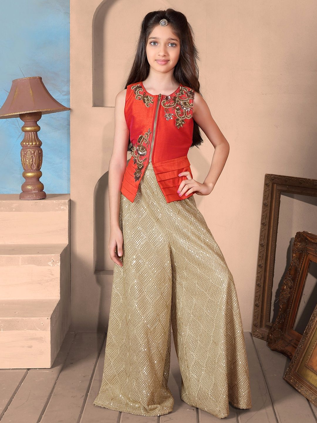 f2fbbce197f9 Raw Silk Red Plazo Suit | Buy Girls Indian wear at G3 fashion in ...
