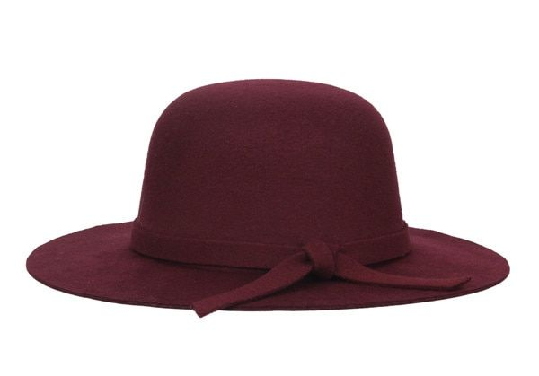 753b6d7cd6026 Autumn Winter Warm Kids Boys Girls Vintage Wide Brim Cap Soft Wool Felt  Bowknot Bowler Floppy