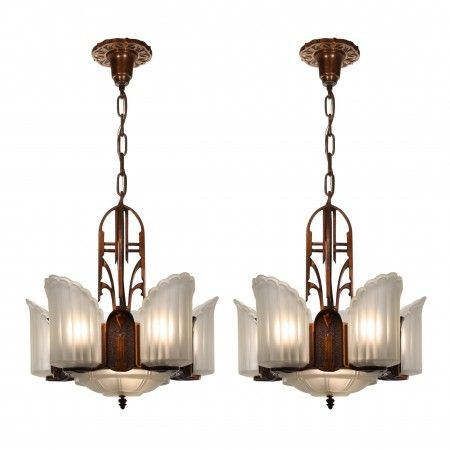 Antique Art Deco Empire Slip Shade Chandelier Matching Art Deco Light Fixture Art Deco Chandelier Art Deco