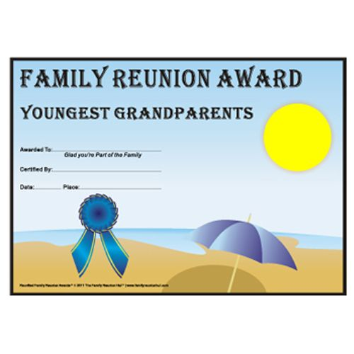 Youngest Grandparents Award Beach Party Theme Free Family Reunion