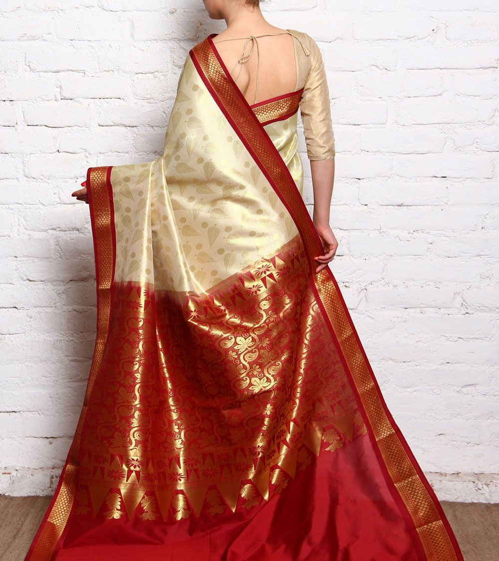 Wedding White Sarees Online: Off White & Red Kanjivaram Silk Saree