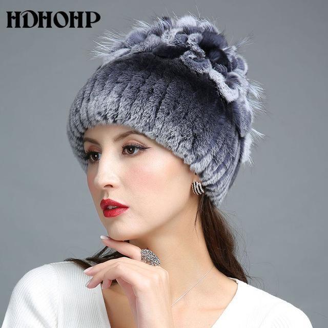 HDHOHP 2017 New Winter Warm Real Fur Hat For Women Real Rex Rabbit Fur Cap  Silver Fox Fur Beanies Hats Thick Warm Headwear Hat 0f1aaa92202