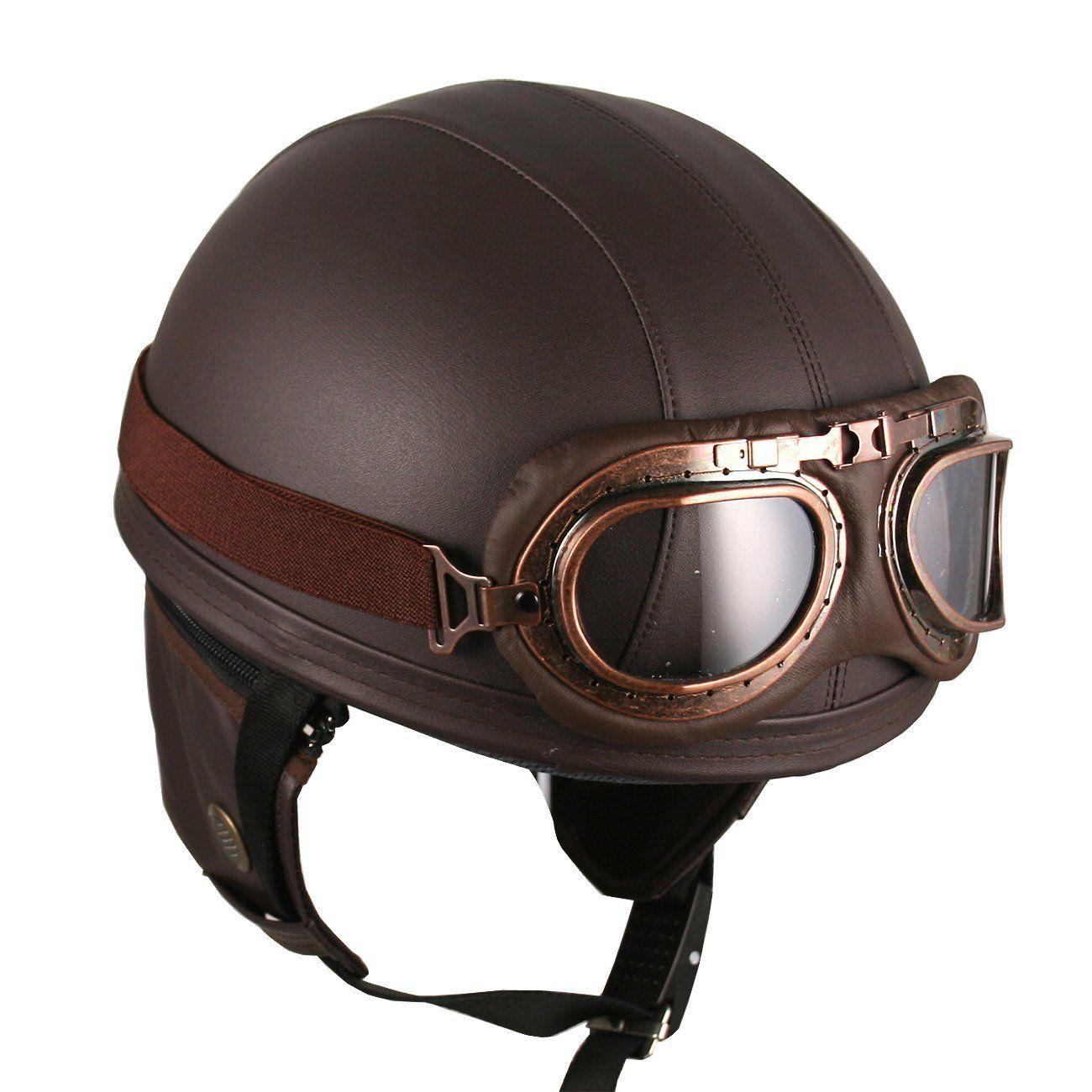 6eb7207df8 Casco Con Gafas De Aviador Café Clasico Hanmi - $ 321.900 | Motos ...