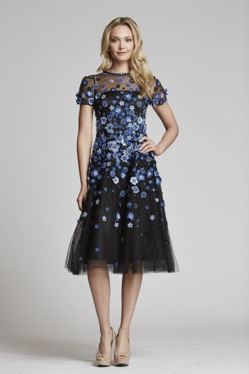 Tulle Midi Dress with Floral Embellishments | Teri Jon | Gorgeous ...