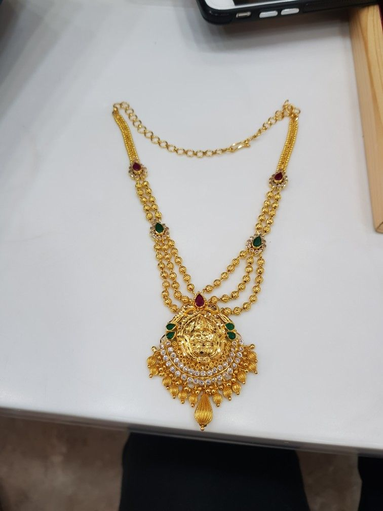 Laxmi Necklace Wt 25 Grams Shagun Jewellers Alwal Gold Necklace Designs Gold Jewellery Design Necklaces Pretty Gold Necklaces