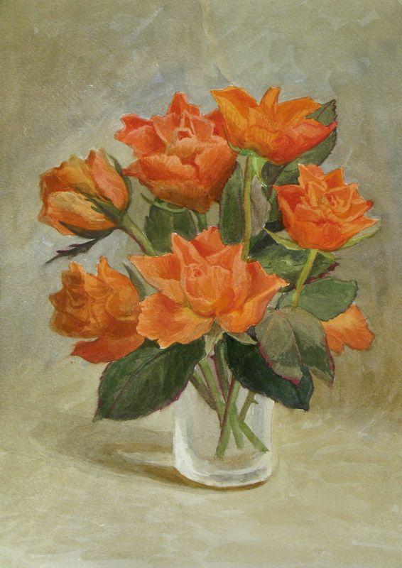 Viktoria Kiryanova (b.1977) —Smalll Bouquet of Roses, 2010  (566x800)