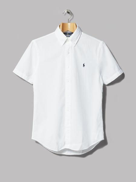 f48d66006 Polo Ralph Lauren Slim Fit Short Sleeve Button Down Seersucker Shirt (White)