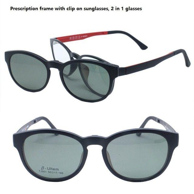 abf97ab16eb classic wayframe shape prescription glasses with detachable clip on polarized  sunglasses lenses handy 2 in 1