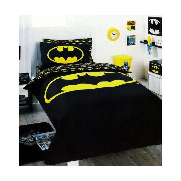 Batman Logo Bedding Quilt Cover Set Single Liked On Polyvore Featuring Home Bed Bath Bedding Quilts Batman Bed Other Bedroom Batman Bed Batman Bedroom Batman Room