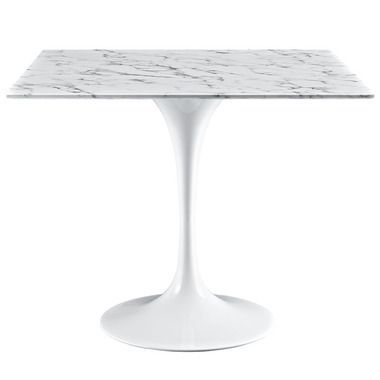 Lippa 36 Square Marble Top Aluminum Base Dining Table In White
