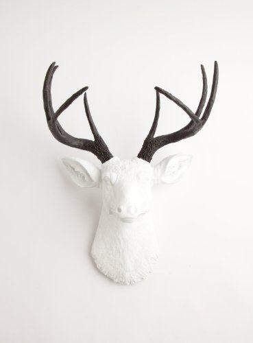 $90mThe Maud | Resin Deer Head | White Deer Head w/ Black Antlers ...