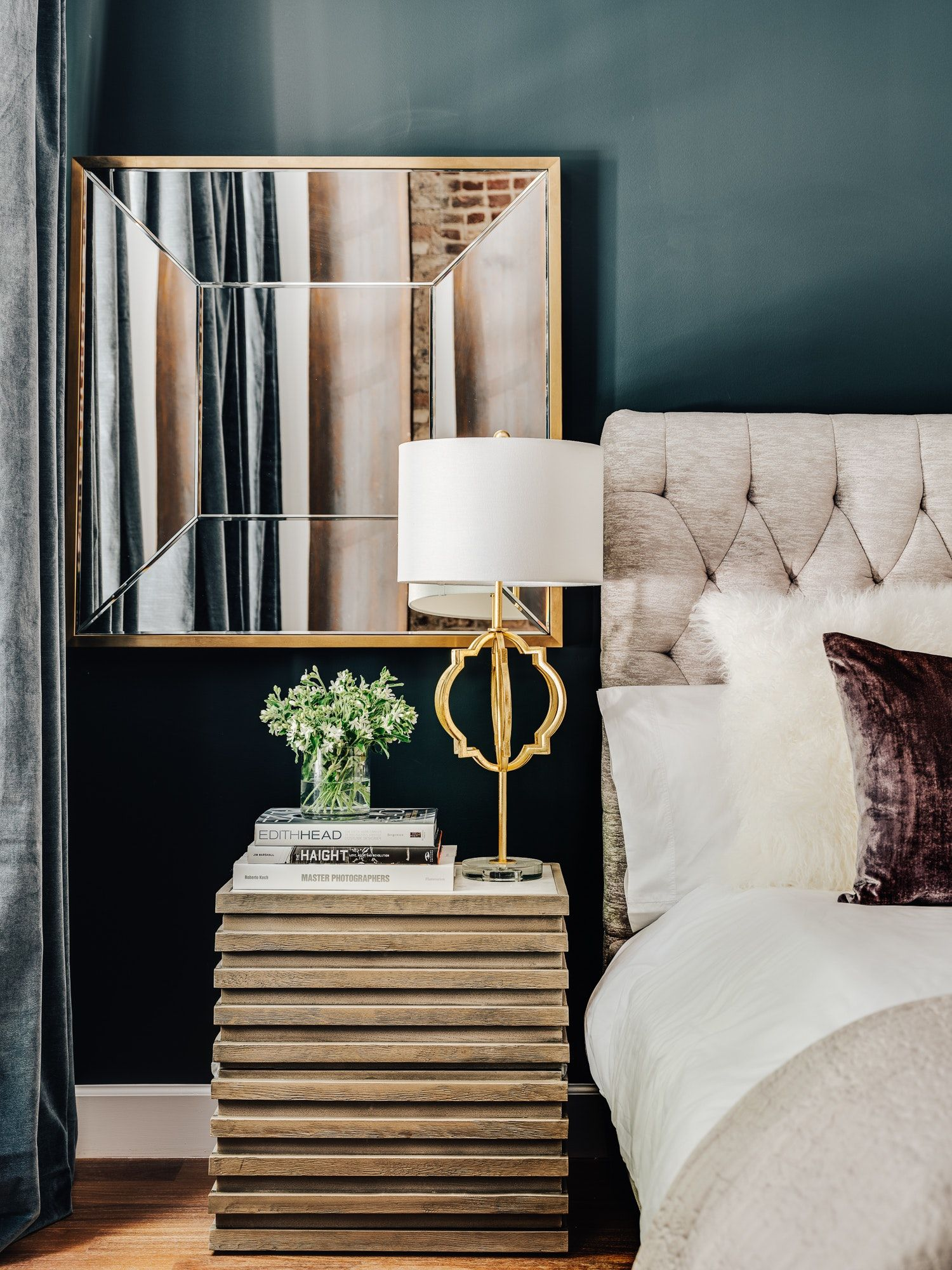 Light Grey Bedside Table: Blue Green Wall And Tufted Gray Headboard With Mirror