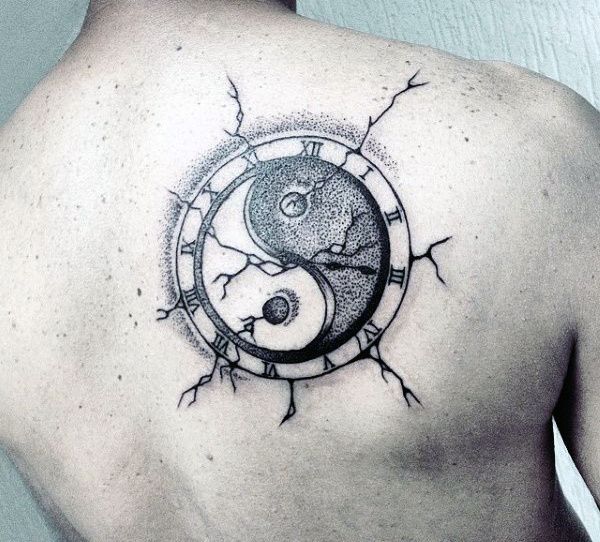 Male Back Clock Yin And Yang Tattoo Designs