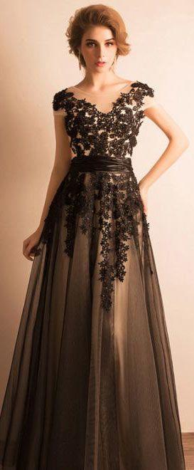 économiser profiter de prix pas cher meilleure qualité robe de soirée noire brodée col en V | Womens Fashion | Robe ...