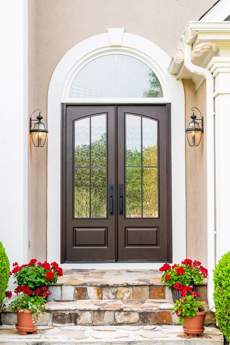 Modern Styled French Double Doors With An Arched Glass Lite Made From Solid Composite With A 10 Year W Front Entry Doors Double Front Entry Doors French Doors