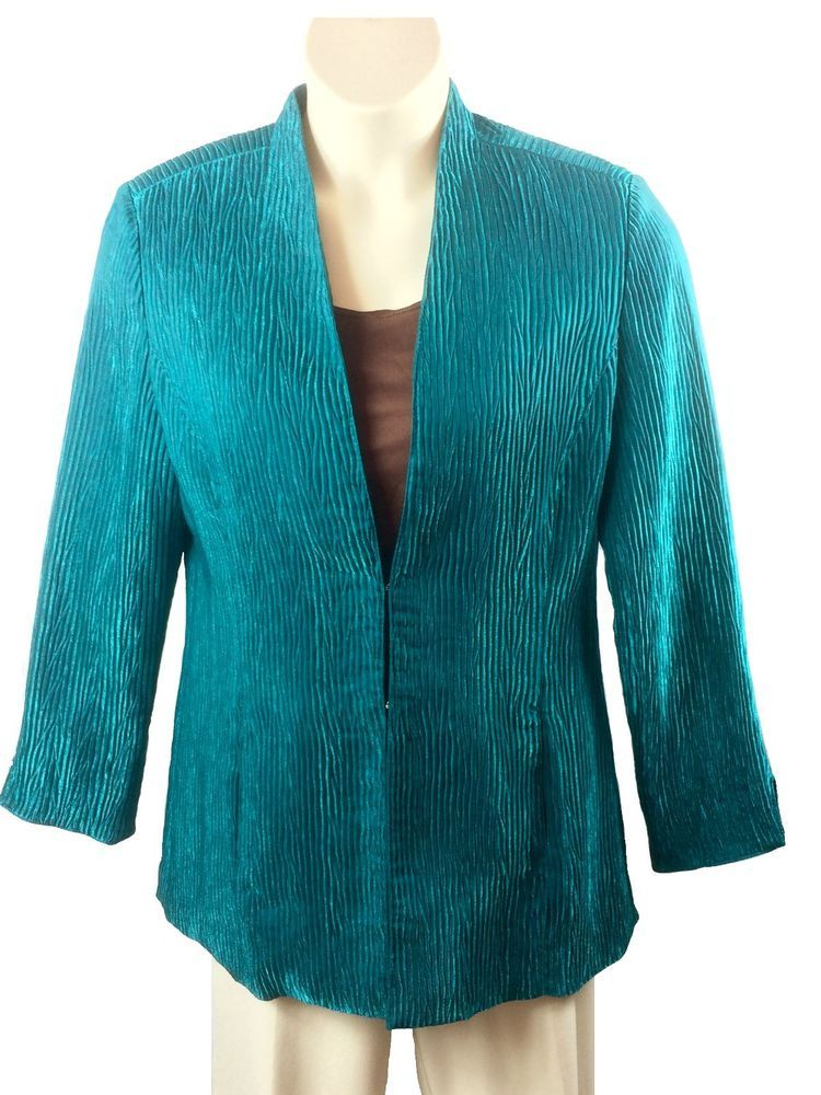 Womens Erin London Dressy Jacket Size L Large Shimmery Green Hook Closure Rayon #ErinLondon #DressSuit