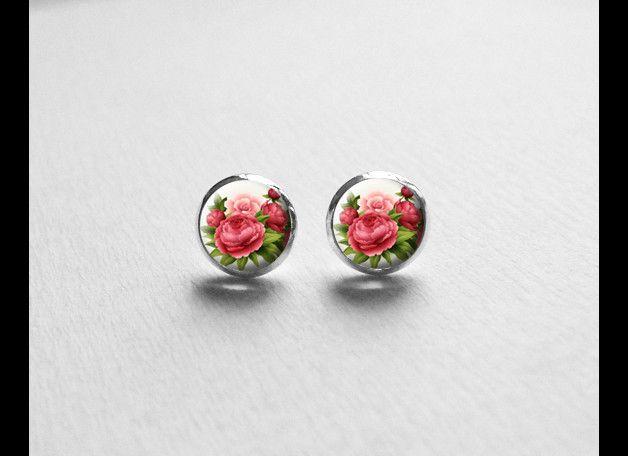 Stud Earrings, Flower Earrings, Shabby Chic, E613