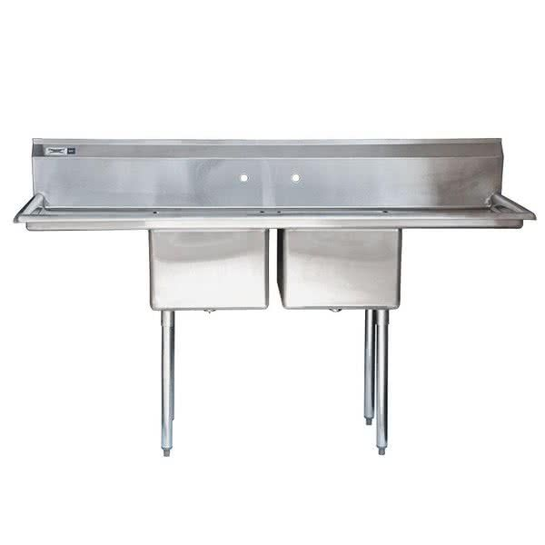 Regency 72 16 Gauge Stainless Steel Two Compartment Commercial Sink With 2 Drainboards 17 X 17 X 12 Bowls Commercial Sink Sink Stainless Steel Sinks