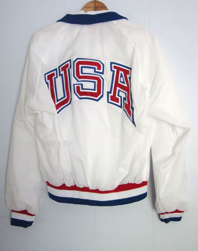 Vintage 80s Olympic Satin Snap Track Jacket Windbreaker Nylon 1988 ...