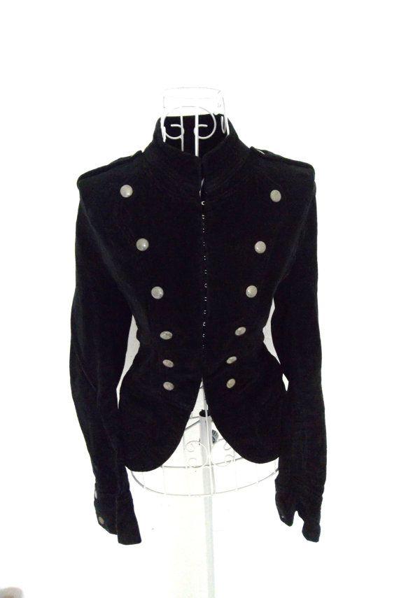 Vintage Velvet Military Jacket