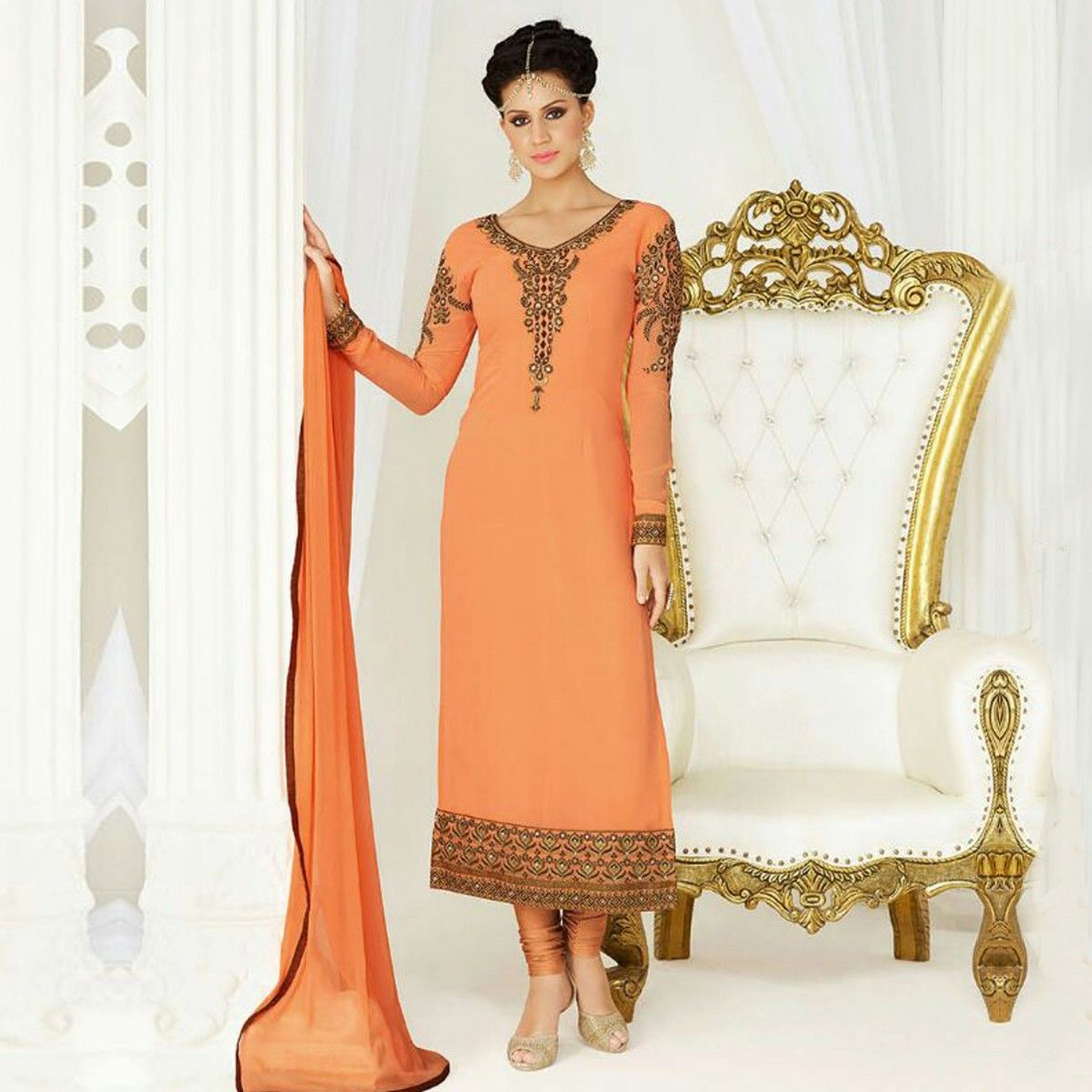 Buy Light Orange Party Wear Georgette Churidar Suit for womens ...