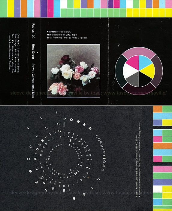 "Full cassette layout for New Order's ""Power, Corruption & Lies"" album with color codes, by Peter Saville for Factory Records, 1983."