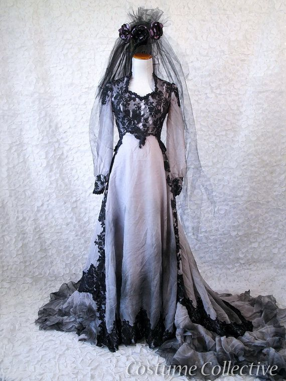 HALLOWEEN CORPSE BRIDE WEDDING VEIL ROSES FANCY DRESS DAY OF THE DEAD PARTY