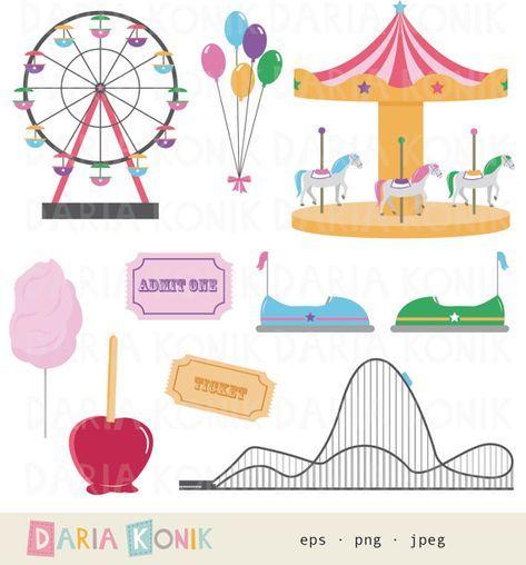 Funfair Clip Art Set Carnival Clip Art Rollercoaster Carousel Ferris Wheel Cotton Candy Balloons Eps Png Jpeg Instant Download Gutschein Basteln Ausflug Gutschein Basteln Kinder Gutschein Basteln Reise