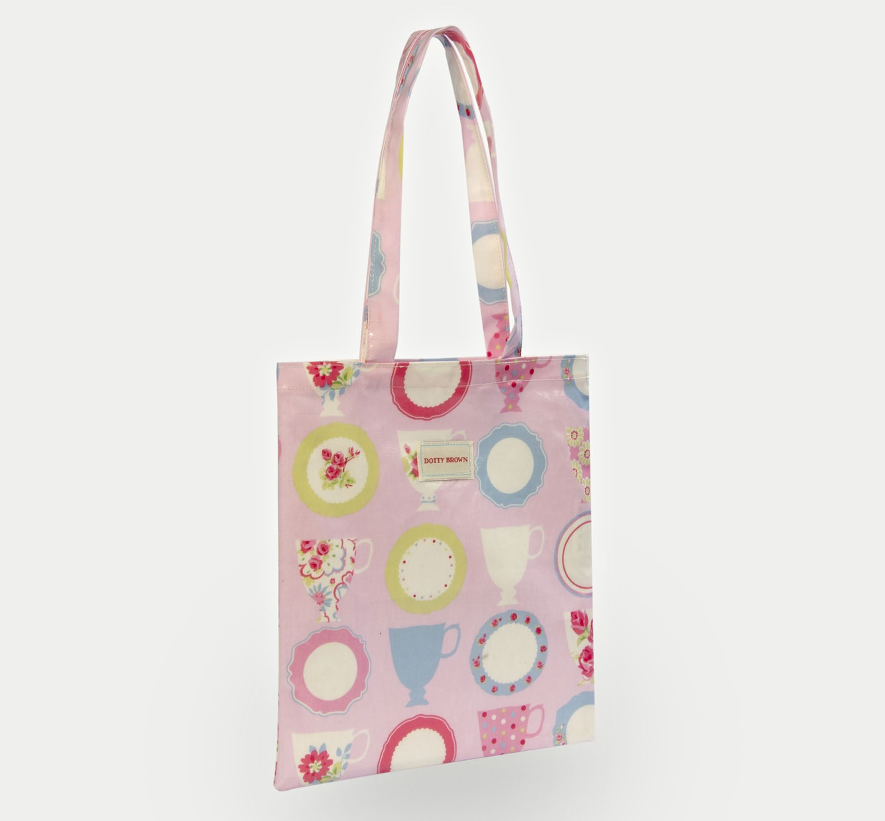 Dotty Brown Teacups Pink Oilcloth Book Bag