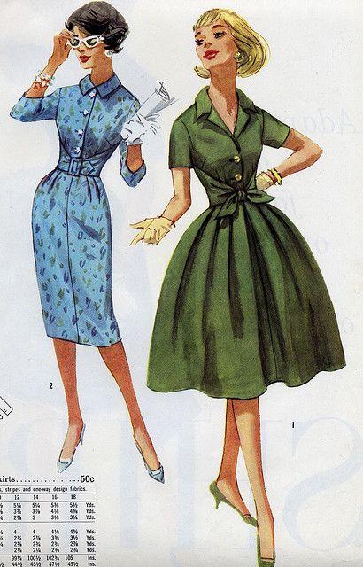 Shirtdress robes ann es 50 60 image mode patron vintage et mode - Dessin annee 60 ...