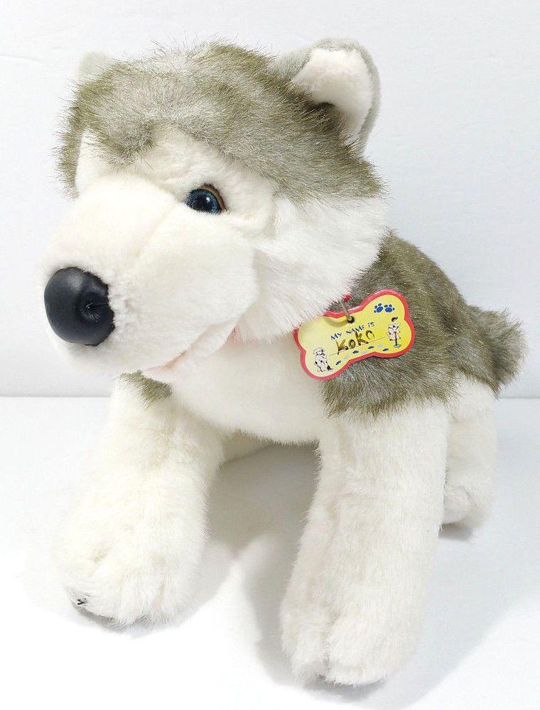 Build A Bear Workshop Gray White Husky Dog Stuffed Animal Plush Toy