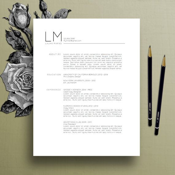modern resume template  cv template  cover letter  references  ms word mac pc  professional