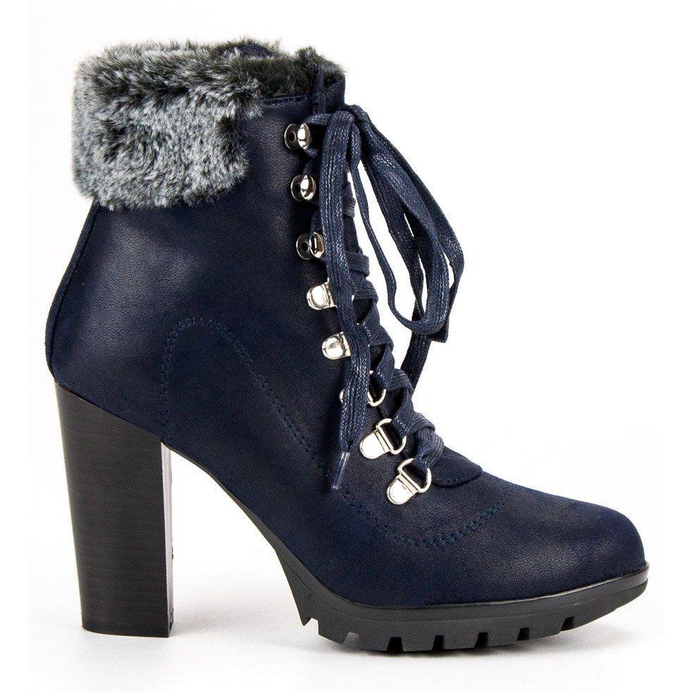 Cm Paris Sznurowane Botki Na Slupku Niebieskie Heels Boots Stiletto