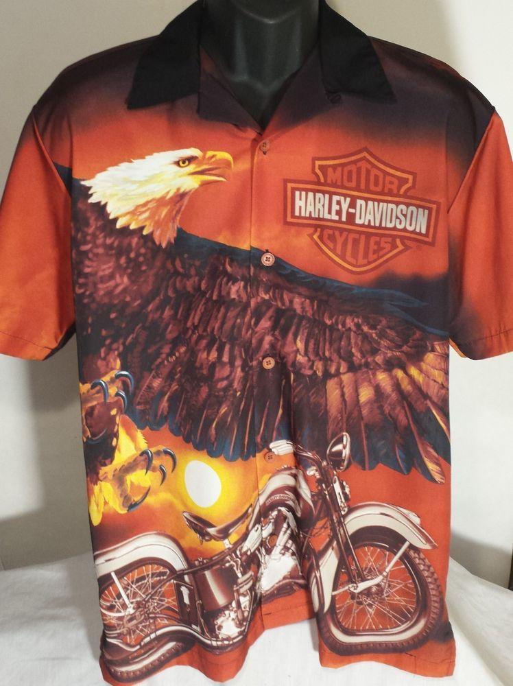 Harley Davidson Motorcycles Mens Size Small Camp Short Sleeve Shirt #HarleyDavidson #ButtonFront