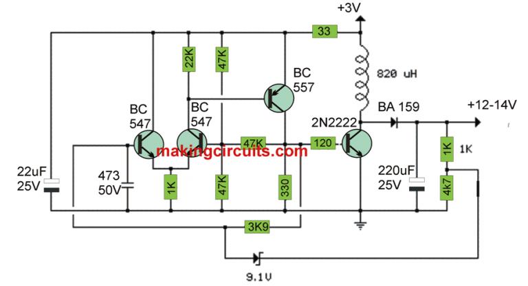 3v To 12v Transistor Boost Converter Circuit Transistors Circuit Electronics Basics