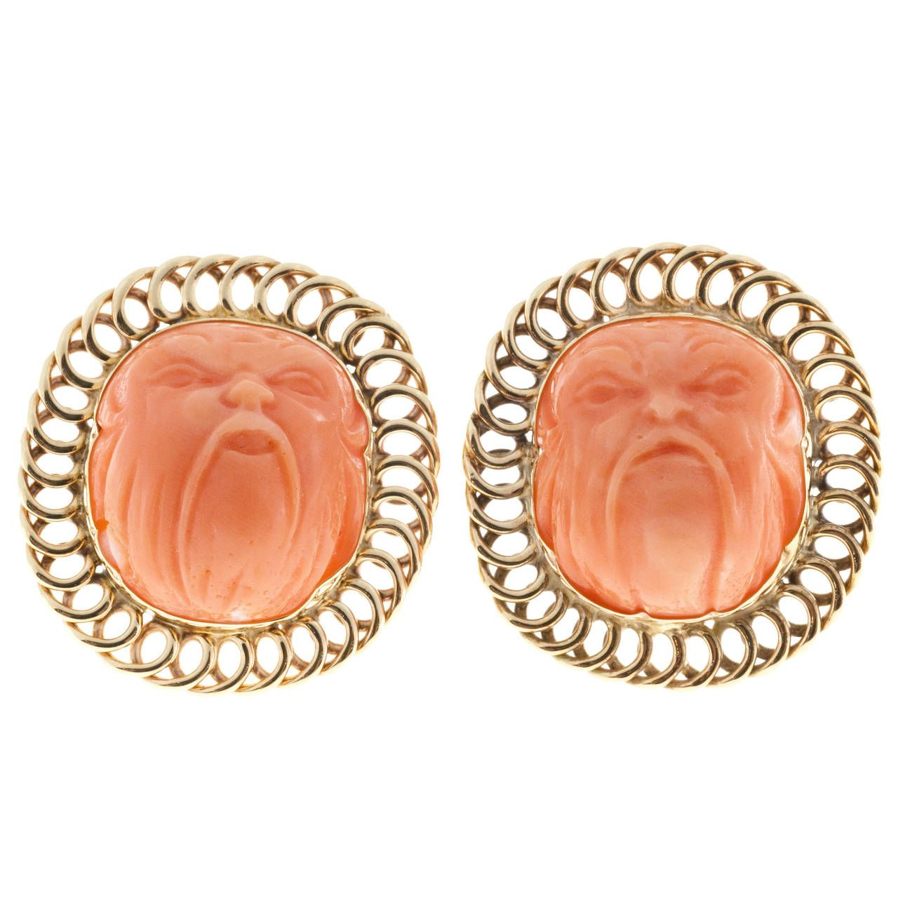 Carved Angel Skin Coral Gold Ear Clips | From a unique collection of vintage clip-on earrings at https://www.1stdibs.com/jewelry/earrings/clip-on-earrings/