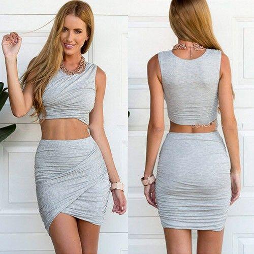 Sexy Zweiteiler-Kleid Top & Rock bauchfrei grau - Fashion Kleider ...