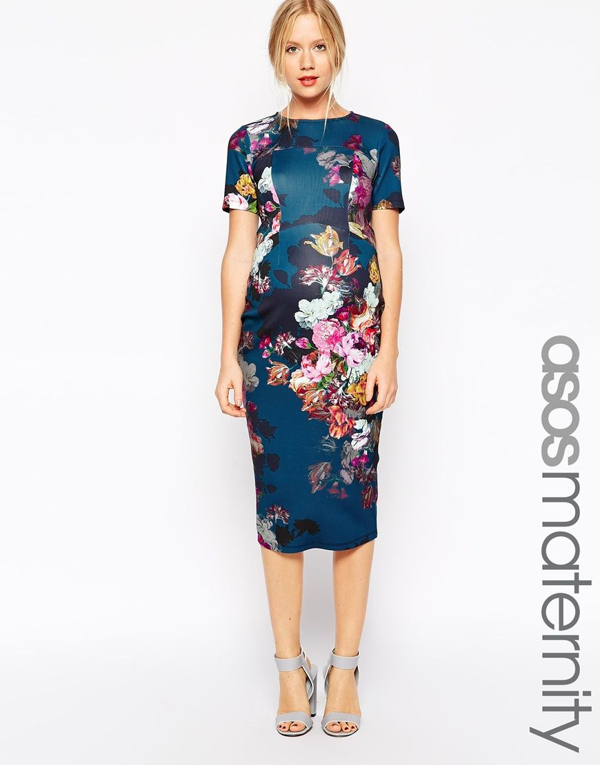 Maternity Scuba Body-Conscious Dress In Floral Print | ASOS, Asos ...
